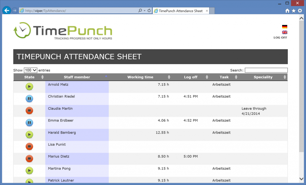 TimePunch Attendance Sheet