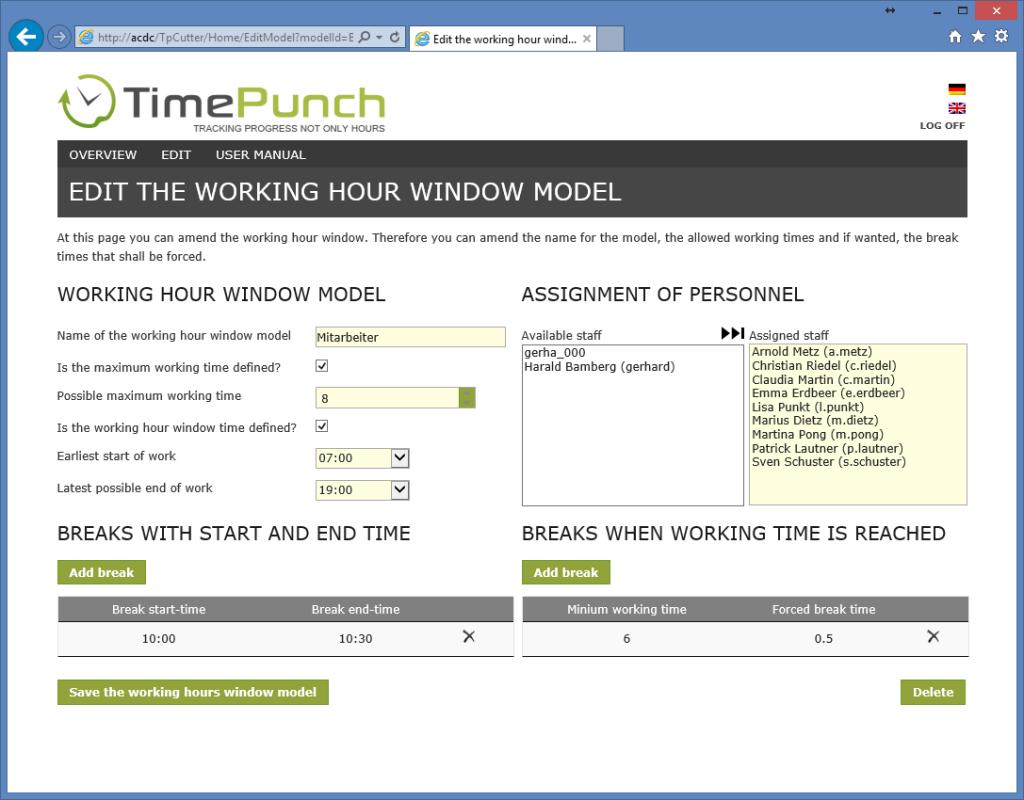 Working Hour Window Model