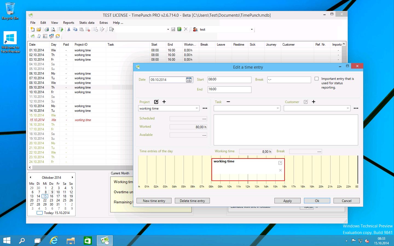 TimePunch PRO full screenshot