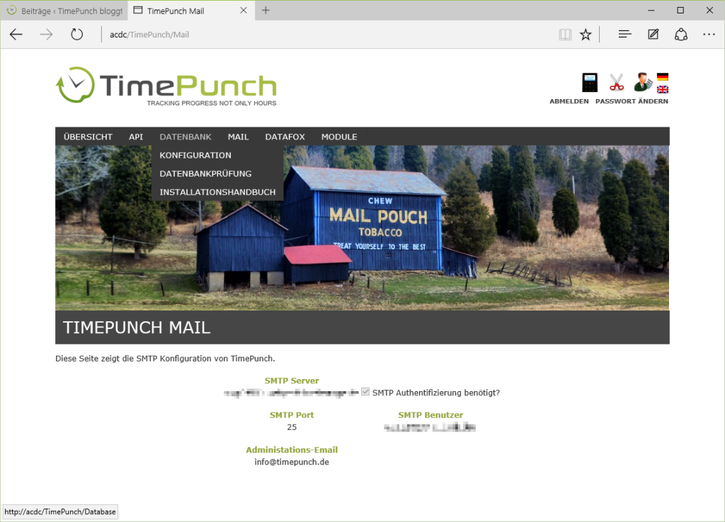 Mail Konfiguration im TimePunch Server #Zeiterfassung