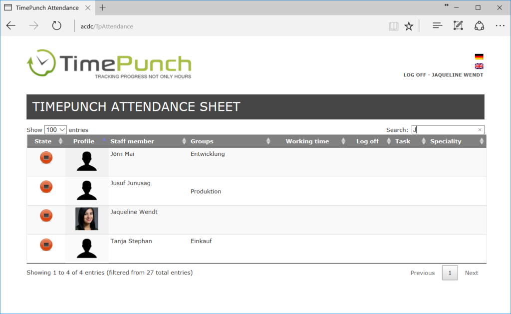 Attendance Sheet in time recording software TimePunch